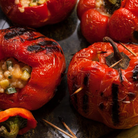 Vegetarian Stuffed Red Bell Peppers