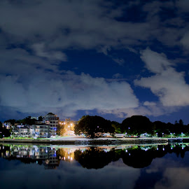 Refections by Gabriele Mezzatesta - Buildings & Architecture Homes ( water, night, house, build, light, reflect, river )