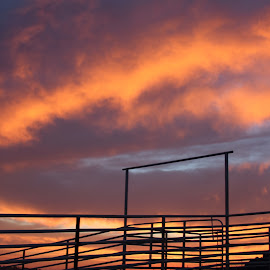 Cattle Pens 2 by Cheryl Petretti - Novices Only Landscapes ( mariposa, sunset, cattle pens, cowboy up!, fire in the sky )