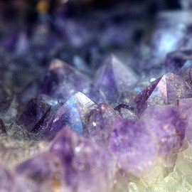Crystal Peeks by Dennis McClintock - Nature Up Close Rock & Stone ( crystals, crystal cascade #2 challenge, purple, rocks,  )