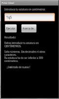 Screenshot of Peso Ideal Máximo y Mínimo