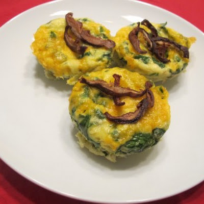 Spinach and Cheese Egg Muffins with Crispy Shiitake Mushrooms