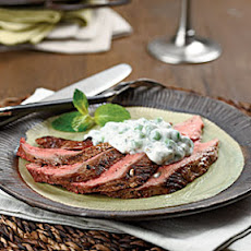 Chilled Sliced Lamb with Minted Pea Sauce
