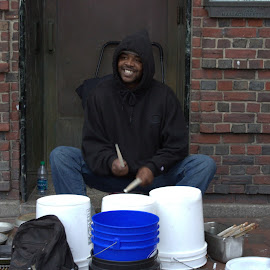 Harvard Square Drummer by Mary D'Alba - People Street & Candids ( street candid, harvard square, drummer, massachusetts, street performer, cambridge, street scenes, street photography )