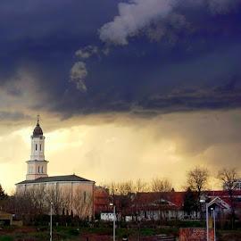 by Katarina Papic - Buildings & Architecture Public & Historical ( Obrenovac, city, church, darkclouds, fog, sky,  )