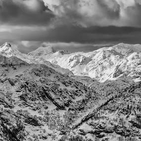 alps in b&w by Gregor Znidarsic - Black & White Landscapes ( clouds, hills, mountains, winter, cold, snow, weather, sun, alps )