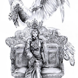 The Queen by Khing Choy - Drawing All Drawing ( pencil, details, queen, crown, masterpiece, peacock )