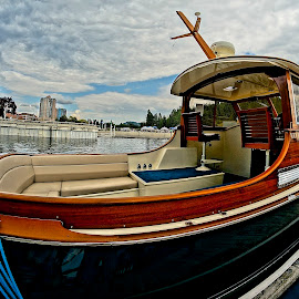 A Wooden Boat by Barbara Brock - Transportation Boats ( antique boat, fish eye lens, motor boat, wooden boat )