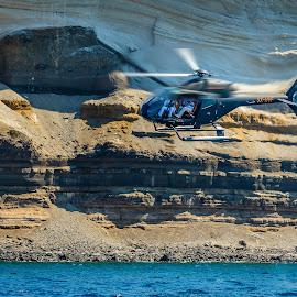 Greece Paparazzi by Armando Bruck - Transportation Helicopters ( helicopter, greece, paparazzi, santorini )