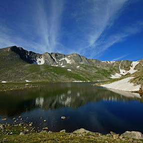 Mt Evans Reflected by Justin Giffin - Landscapes Mountains & Hills ( water reflections, mountains, colorado, 14ers,  )