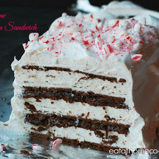 Candy Cane Fudge Ice Cream Sandwich Cake (a make ahead dessert)