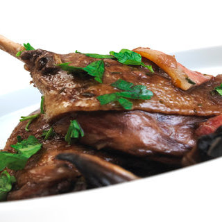 Slow roast Duck legs with a red wine and mushroom sauce