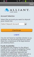 Screenshot of Alliant Mobile Deposit