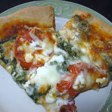 Spinach Feta and Artichoke Pizza