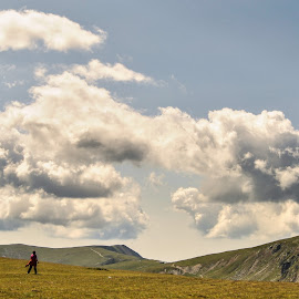 Far away by Alexandru Dragan - Landscapes Mountains & Hills ( clouds, mountains, sky, walk, people )
