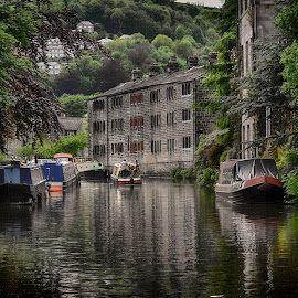 Tranquil times by Ray Rickaby - Transportation Boats ( canals, yorkshire, boats, buildings, waterway )