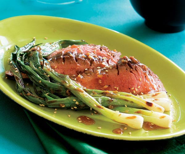 Grilled Flank Steak with Sesame Sauce & Grilled Scallions Recipe ...