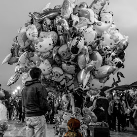 Decisions Decisions by Kip Schmidt - People Street & Candids ( peru, black and white, color splash, children, balloons, lima, street photography,  )