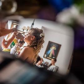 Through The Looking-Glass by Magdalena Zech-frankowska - Wedding Getting Ready ( mirror, wedding, getting ready, bride )