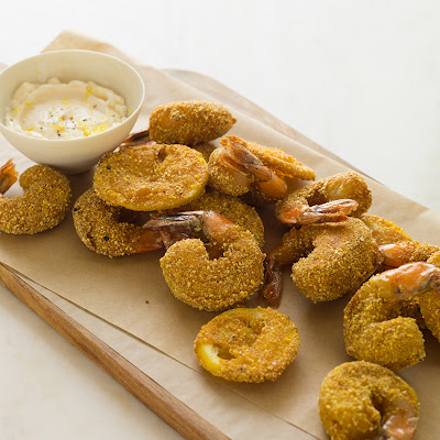 Cornmeal Crusted Mustard Shrimp with Triple Blanched Garlic Aioli