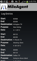 Screenshot of Mile Agent -- Mileage Log