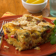 Mexican Tortilla Breakfast Casserole