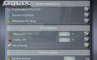 Screenshot of Liquix E-Liquid Calculator