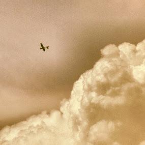 04-06-2014 ( dhanmondi, dhaka ) by Shiful Riyadh - Transportation Airplanes ( abstract, sky, plane, black & white, war,  )