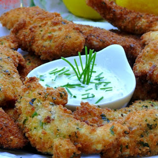Crispy Lemon-Herbed Chicken Fingers with Chive-Garlic Aioli