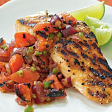 Grilled Salmon with Tomato-Olive Salsa