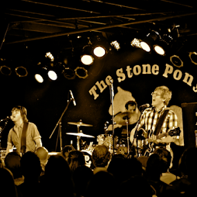Old 97's @ The Stone Pony by Denise Zimmerman - People Musicians & Entertainers ( music, musicians, sepia, rhett miller, rock & roll, old 97's, alt rock, the stone pony, rock, Selfie, self shot, portrait, self portrait )
