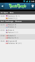 Screenshot of Tennis Live scores