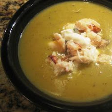 Asparagus and Potato Soup with Crab and Chive Soured Cream