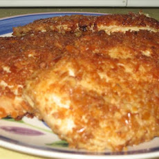 Pretzel Crusted Chicken Breast With Cheddar Cheesy Mustard Sauce