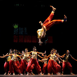 by Erin Baker - People Musicians & Entertainers ( tumbling, tricks, flips, performer, indian, stunt, dance )