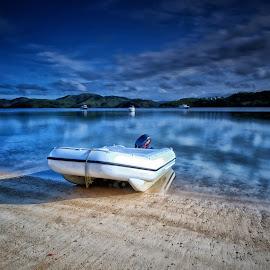 Docked by Ferdinand Ludo - Transportation Boats ( docked, rubber boat, coron, beach, dingy )