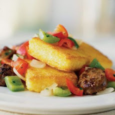 Grilled Polenta with Sausages and Bell Peppers