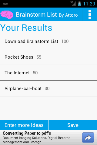 Brainstorm List: Brainstorming