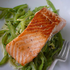 Salmon with Greens and Shiitake Mushrooms