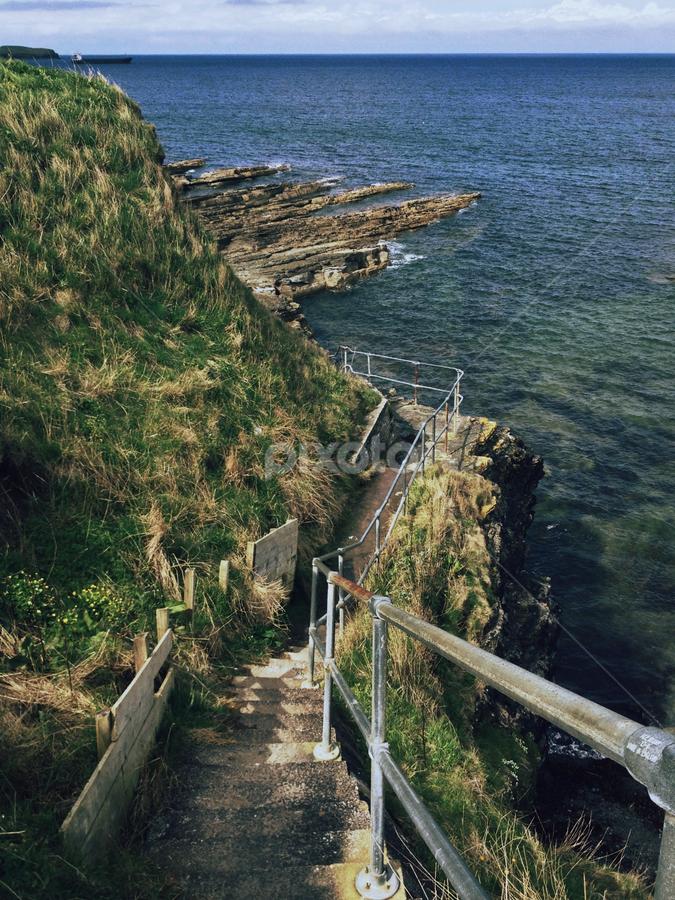 Thurso by Alina Jumabhoy - Instagram & Mobile iPhone ( cliff, staircase, sea, travel, walk, coastal, coast )