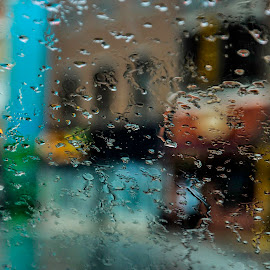 Rainy day in West Lafayette, Indiana by Christine May - City,  Street & Park  Street Scenes ( water drops, street, street scene, waterdrops, water droplets, photography, street photography )