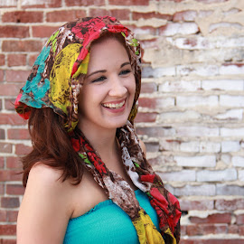scarf  by Spacer Conrad - Novices Only Portraits & People ( brick, dress, woman, scarf, wall, portrait )