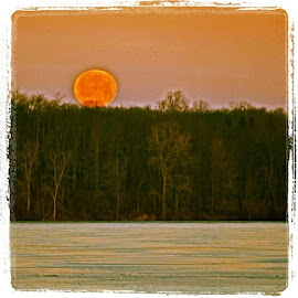 Moonset over Clearfork by Chuck Hagan - Digital Art Things