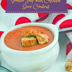 Tomato Soup with Cheddar Beer Croutons