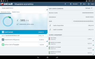 Screenshot of Mobile Banking per Tablet