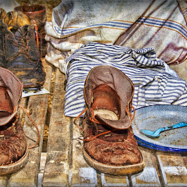 Tired Soles by Rosemary Jardine - Artistic Objects Clothing & Accessories ( shoes, civil war, plate, spoon, boots )