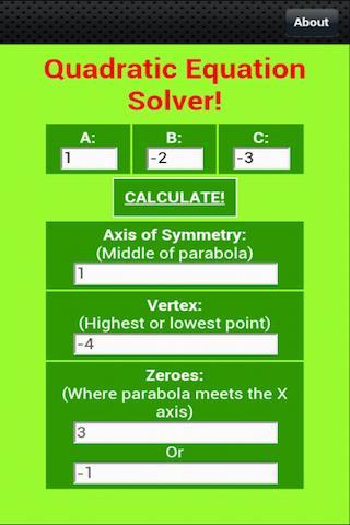 Free Quadratic Equation Solver