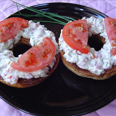 Breakfast Bagel, Featuring Tomato and Garden Cream Cheese