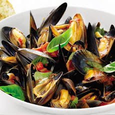Mussels With Wine And Basil Tomatoes