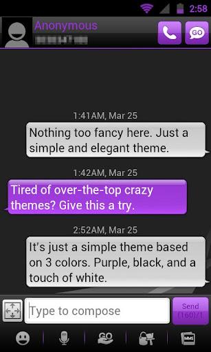 GO SMS THEME - Smooth Purple